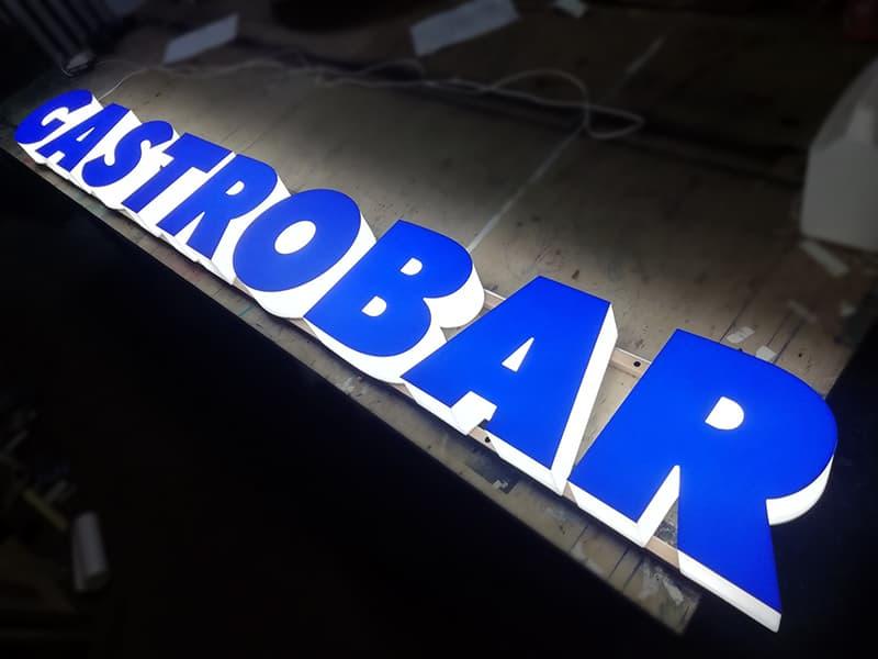 Изготовление синих световых букв в СПБ